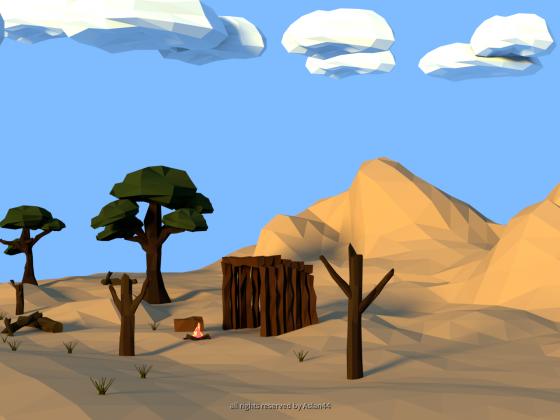 Low Poly Desert Landscape