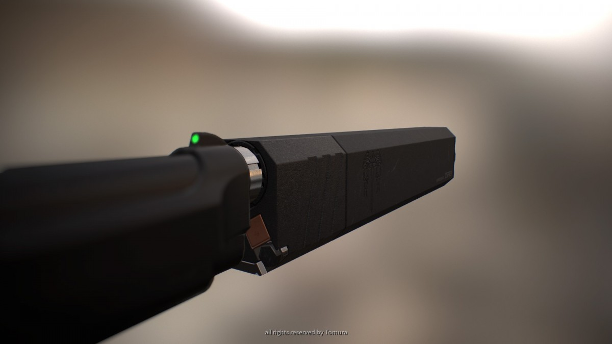 Pistol Silencer (basierend auf Silencer Co. OSPREY) Hinterteil