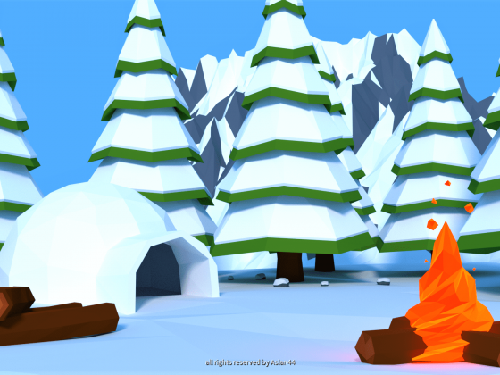 Low Poly Campfire In The Snow