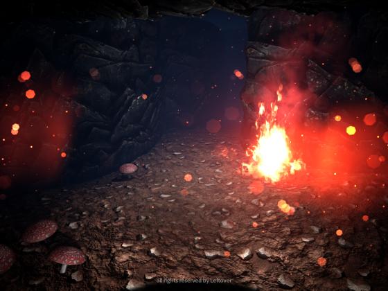 Höhle mit Feuer
