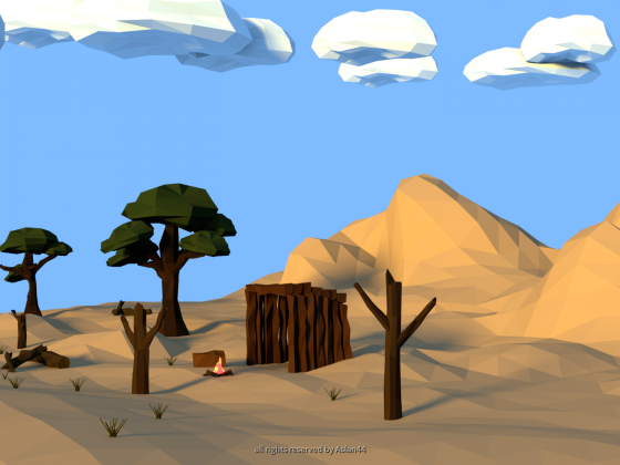 Low Poly Desert Landscape