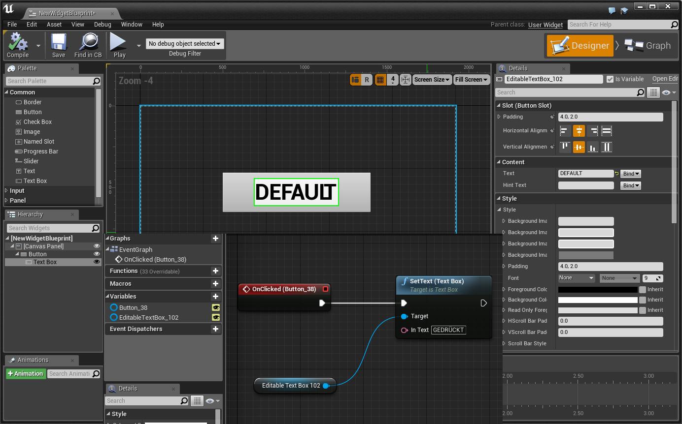 Text im Textfeld ändern - Widget - Blueprints - UnrealEngine 4
